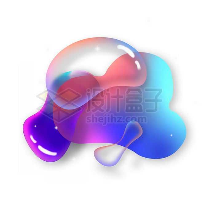 彩色多彩不规则形状渐变色气泡免抠图片素材