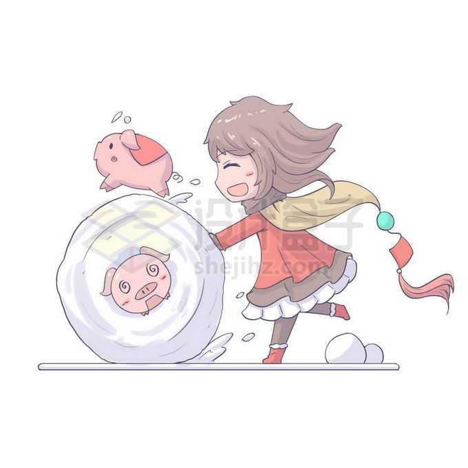 冬天里卡通小女孩愉快的滚雪球免抠图片素材