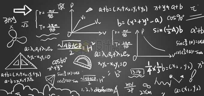 黑板上的手写数学方程式几何公式免抠图片素材