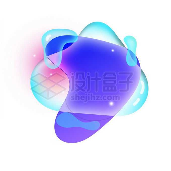 紫色蓝色多彩不规则形状渐变色气泡免抠图片素材