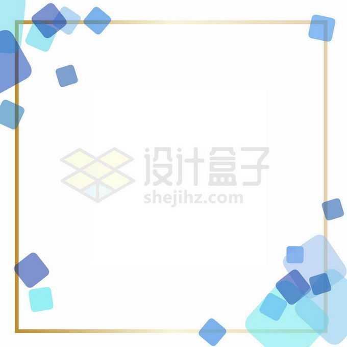 金色边框和方块装饰文本框信息框免抠图片素材