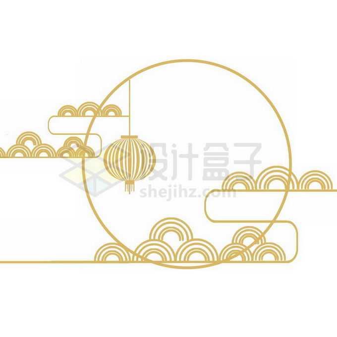 金色线条组成的中秋节月亮和祥云图案免抠图片素材