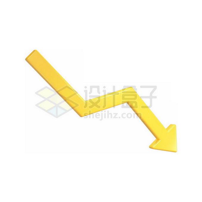 3D黄色向下箭头折线免抠图片素材