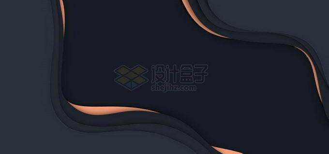 抽象剪纸叠加色块组成的黑色背景图免抠图片素材