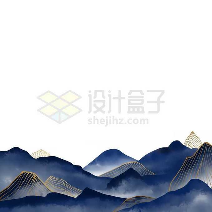 金丝线风格国潮深蓝色传统山水画免抠图片素材