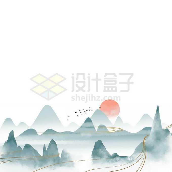 金丝线风格国潮中国传统青山绿水山水画免抠图片素材