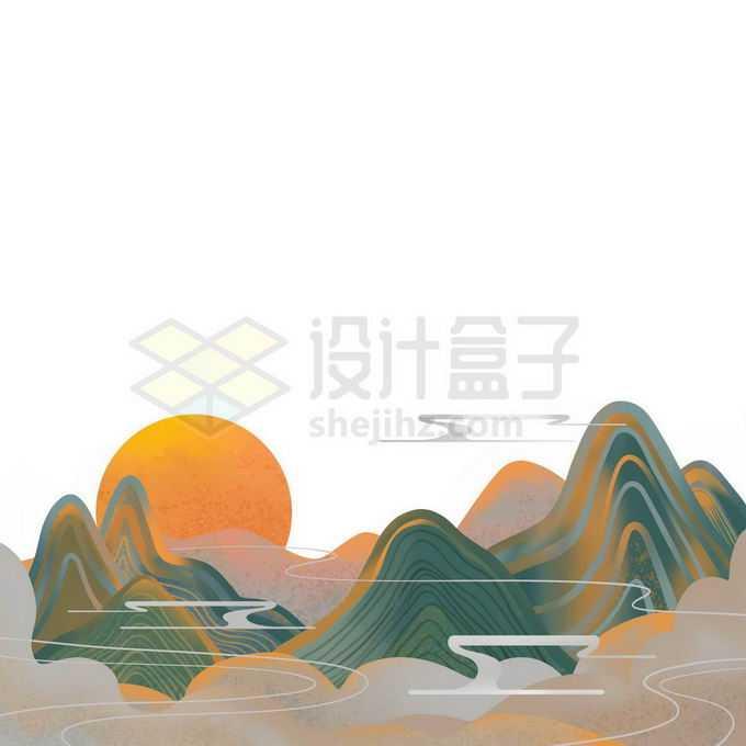 金丝线风格国潮高山云海山水画免抠图片素材