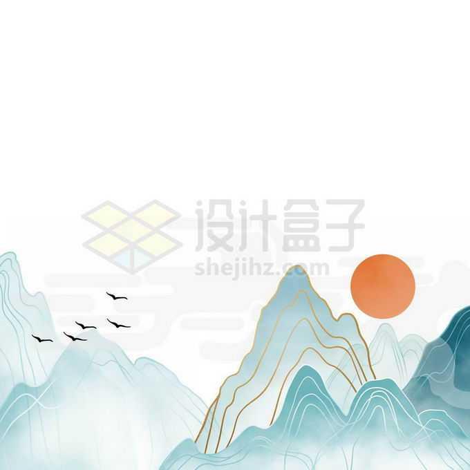 金丝线风格国潮传统国画青山绿水山水画免抠图片素材