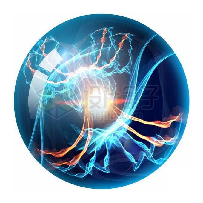 蓝色水晶球中的绚丽场景免抠图片素材