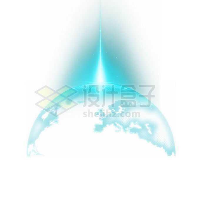 发光的蓝色地球科技插画免抠图片素材