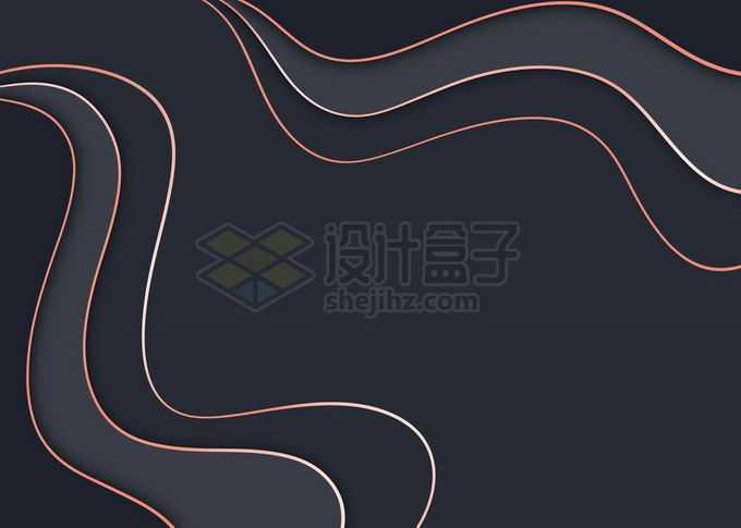 金丝线剪纸叠加风格黑色背景图免抠图片素材