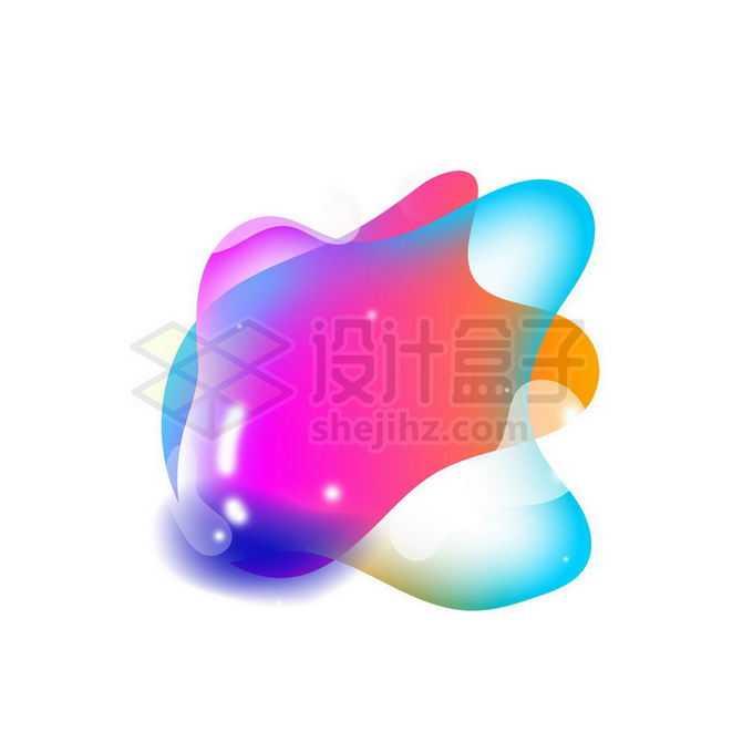 彩色半透明多彩不规则形状渐变色气泡免抠图片素材