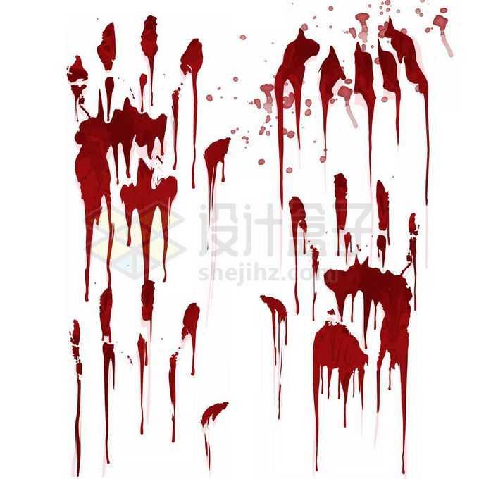红色血液手掌印恐怖元素免抠图片素材