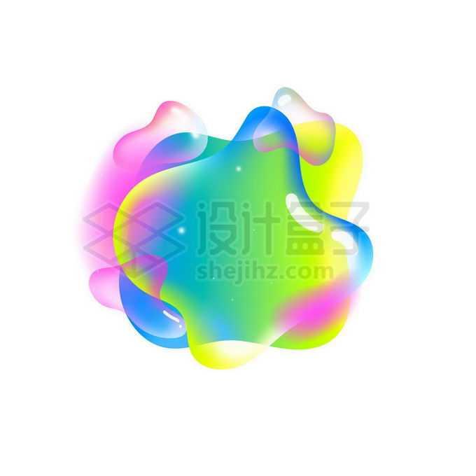 绿色半透明多彩不规则形状渐变色气泡免抠图片素材