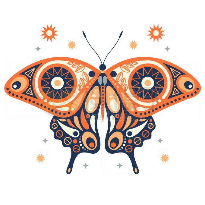 抽象波西米亚风格图案组成的蝴蝶免抠图片素材