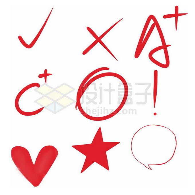 对号错号打分圈重点等红色老师手绘教育涂鸦图案免抠图片素材