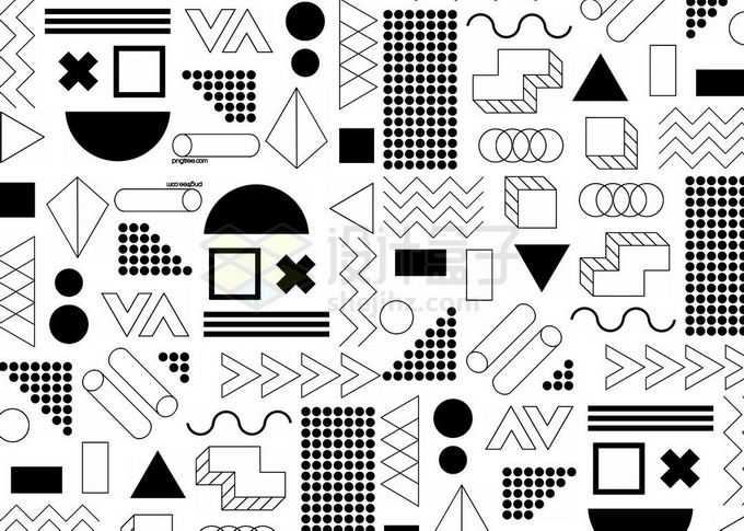 黑白色圆形三角形等孟菲斯几何图形装饰背景免抠图片素材
