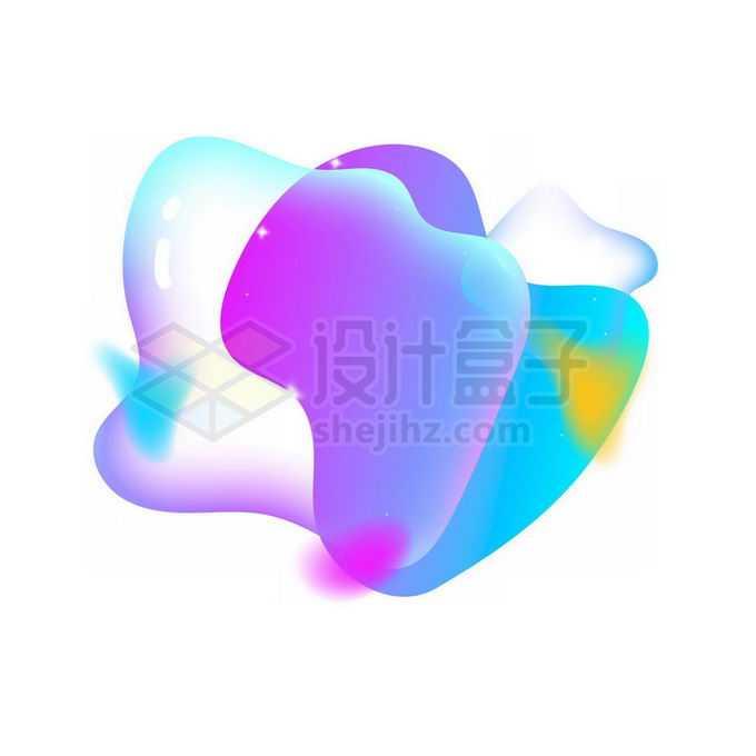 蓝紫色半透明多彩不规则形状渐变色气泡免抠图片素材