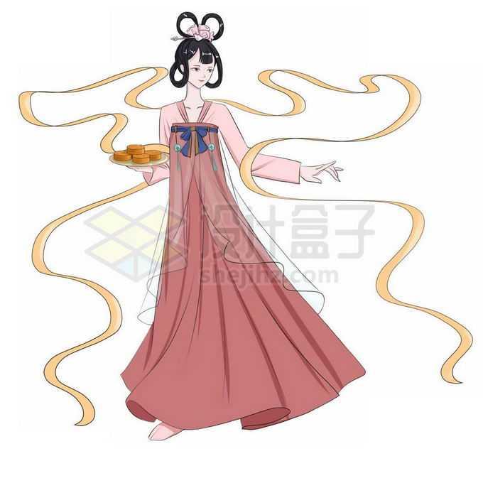 中秋节端着月饼的卡通嫦娥小仙女免抠图片素材