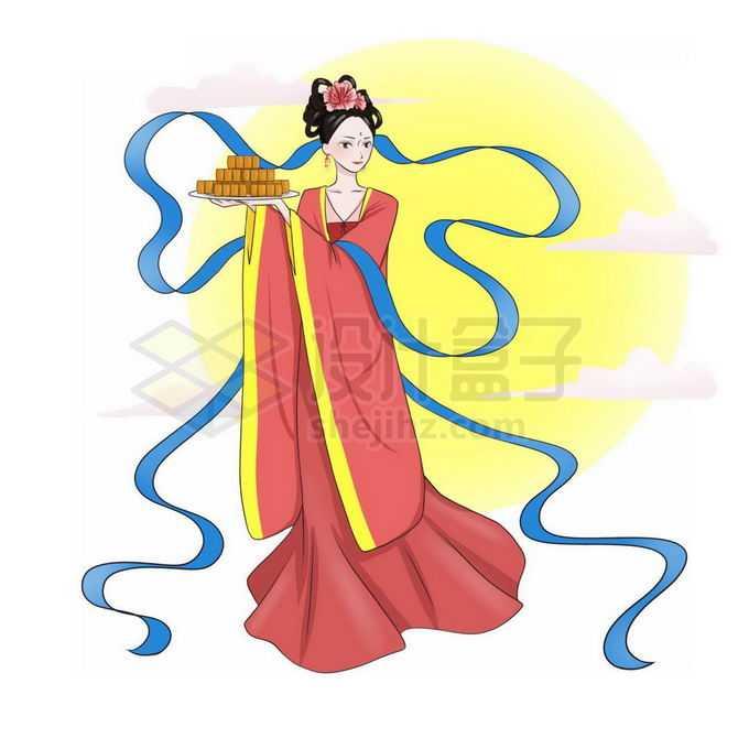 中秋节大大的黄色月亮和端着月饼的卡通嫦娥小仙女免抠图片素材