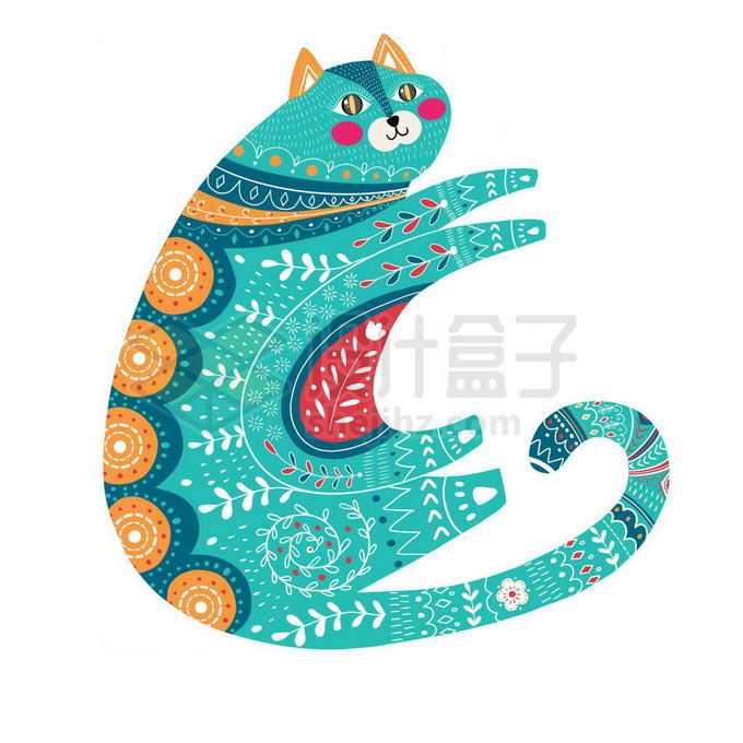 抽象波西米亚风格图案的猫咪免抠图片素材