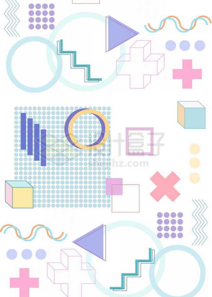 扁平化风格圆圈方框等孟菲斯几何图形装饰背景免抠图片素材