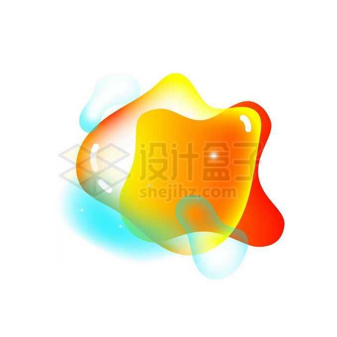 橙色半透明多彩不规则形状渐变色气泡免抠图片素材