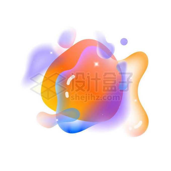 橙色黄色半透明多彩不规则形状渐变色气泡免抠图片素材