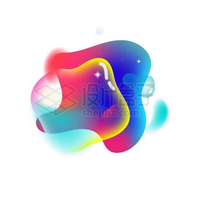蓝色红色紫色半透明多彩不规则形状渐变色气泡免抠图片素材