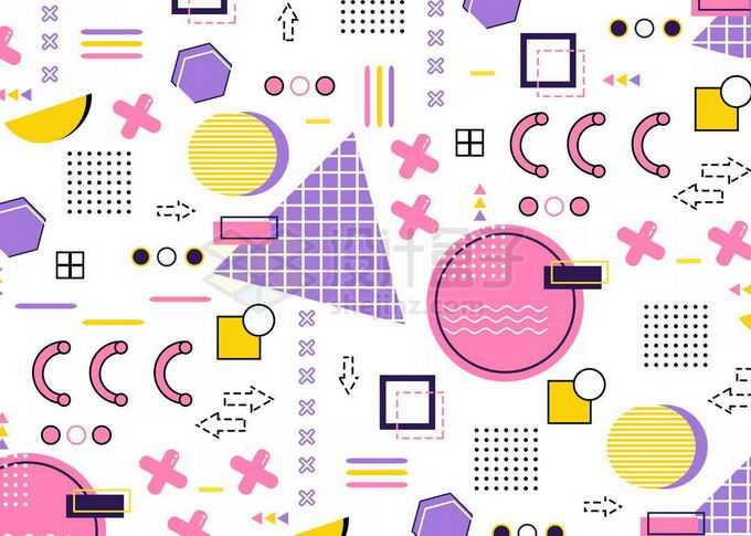 彩色多边形图案孟菲斯几何图形装饰背景免抠图片素材