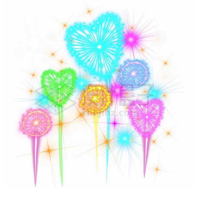 绚丽的心形礼花烟花爆炸效果免抠图片素材