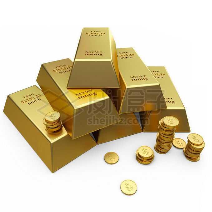 一堆金条金块和金币黄金贵重金属免抠图片素材