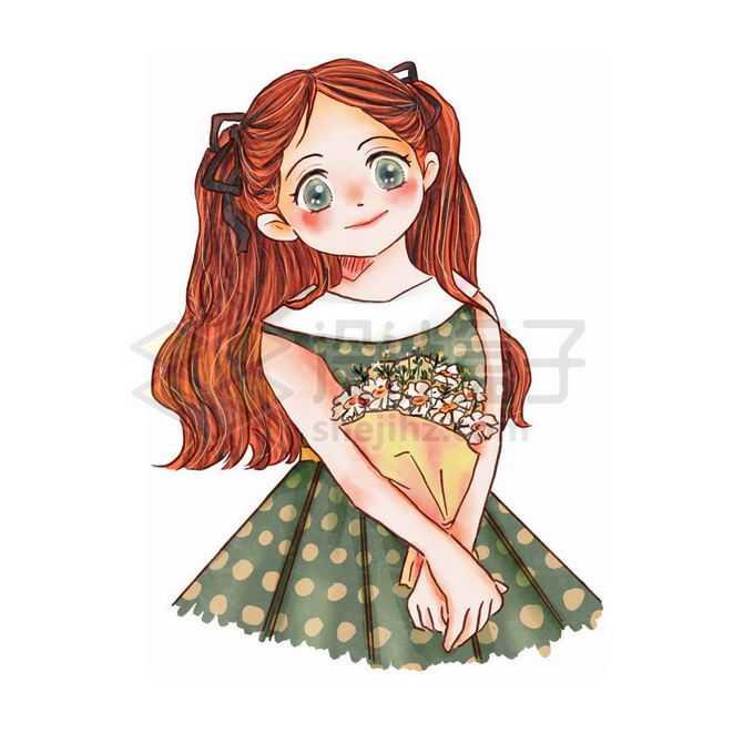 抱着一束花的卡通女孩免抠图片素材