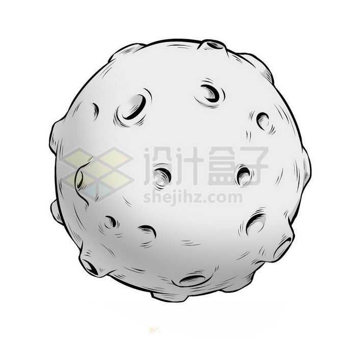 灰色的星球布满陨石坑手绘插画免抠图片素材