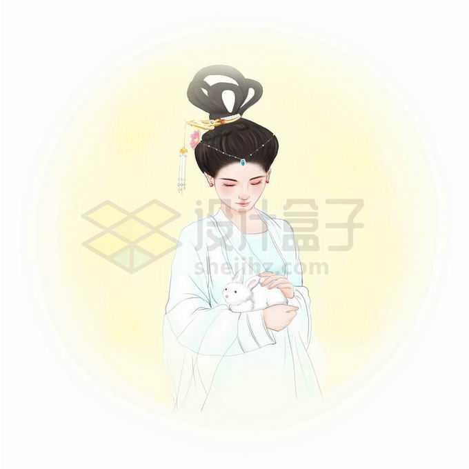 漂亮的嫦娥抱着玉兔中秋节古装美女免抠图片素材
