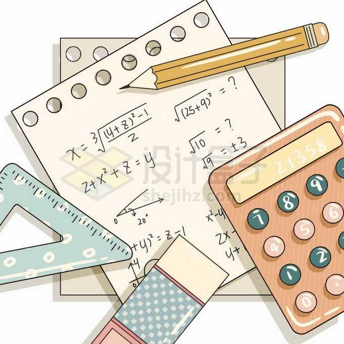 计算器三角尺铅笔和便签纸上的计算公式等学习笔记免抠图片素材