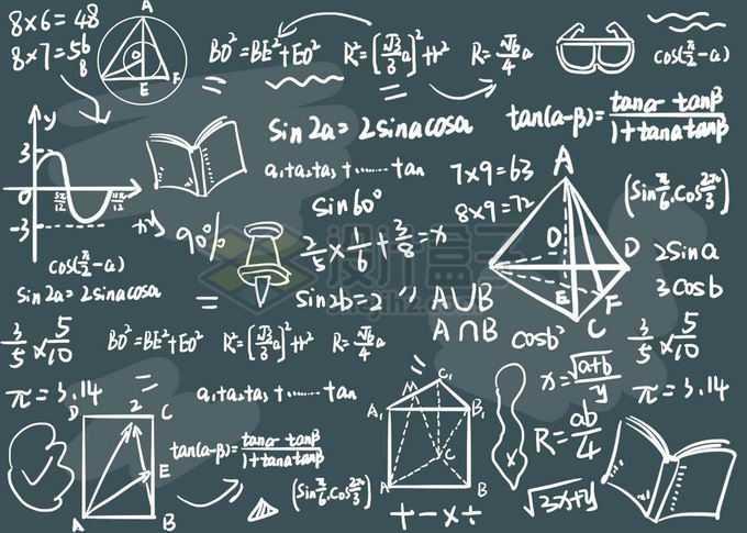 黑板上粉笔涂鸦的数学计算公式免抠图片素材