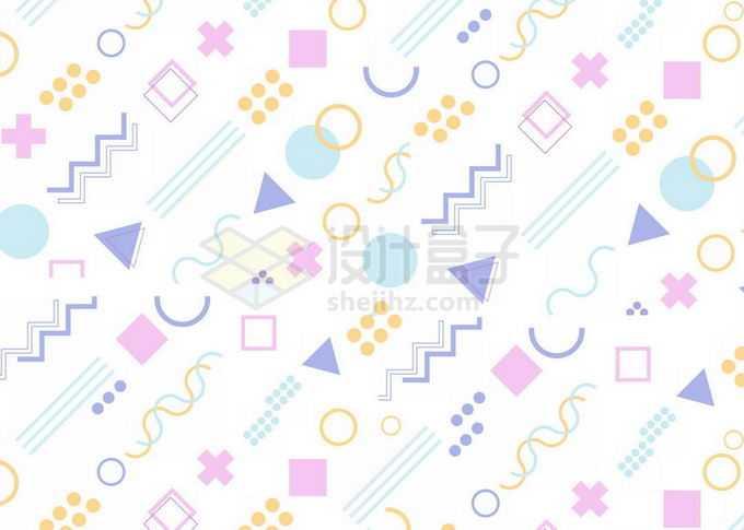 扁平化风格孟菲斯几何图形装饰背景免抠图片素材