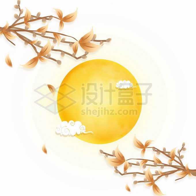 桂花树枝和黄色的月亮以及祥云图案免抠图片素材