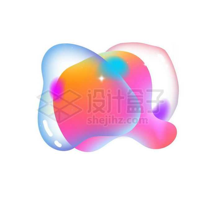 粉红色半透明多彩不规则形状渐变色气泡免抠图片素材
