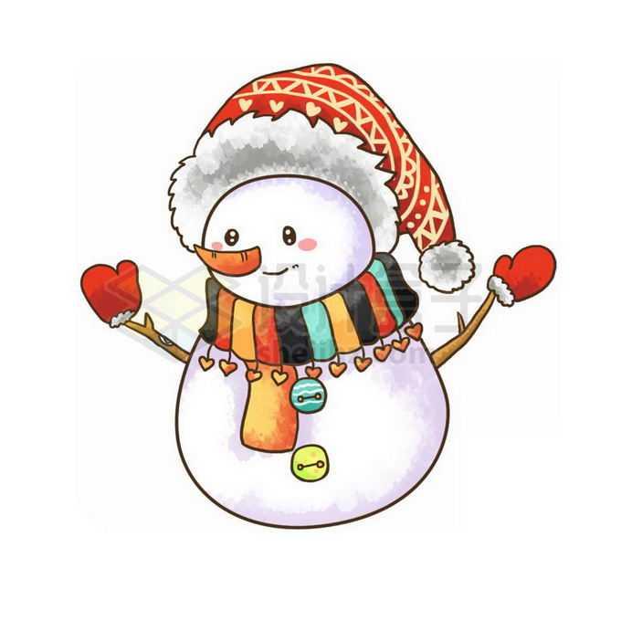 冬天里可爱的卡通雪人手绘插画免抠图片素材