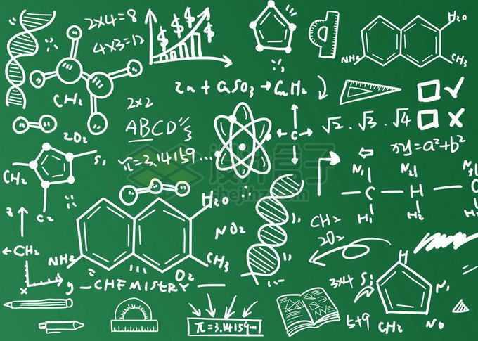 墨绿色黑板上的粉笔涂鸦的数学计算公式免抠图片素材