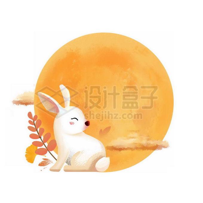中秋节的黄色月亮和卡通玉兔免抠图片素材