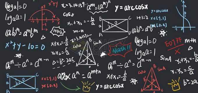 黑板上的粉笔涂鸦的数学计算公式免抠图片素材