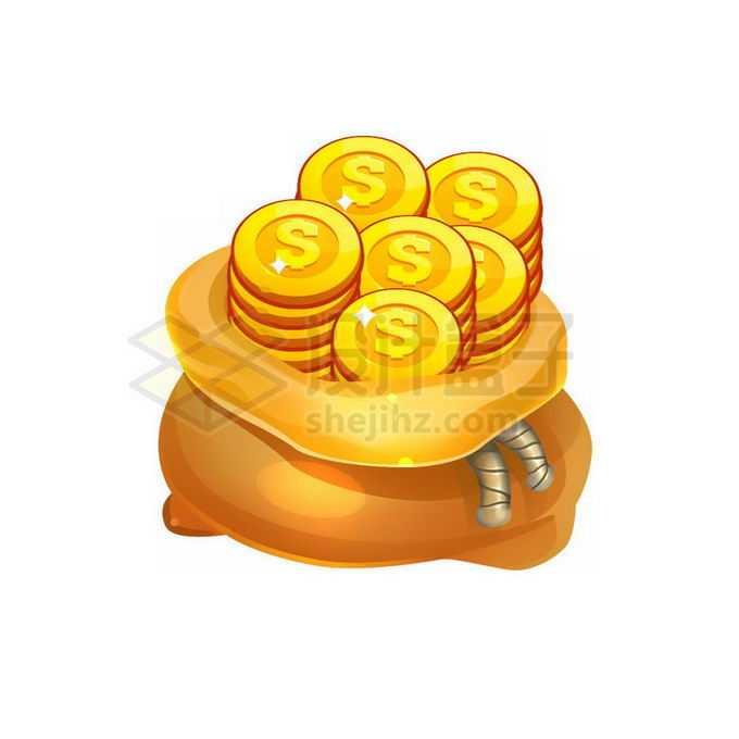 卡通金黄色钱袋子中的金币钱币免抠图片素材