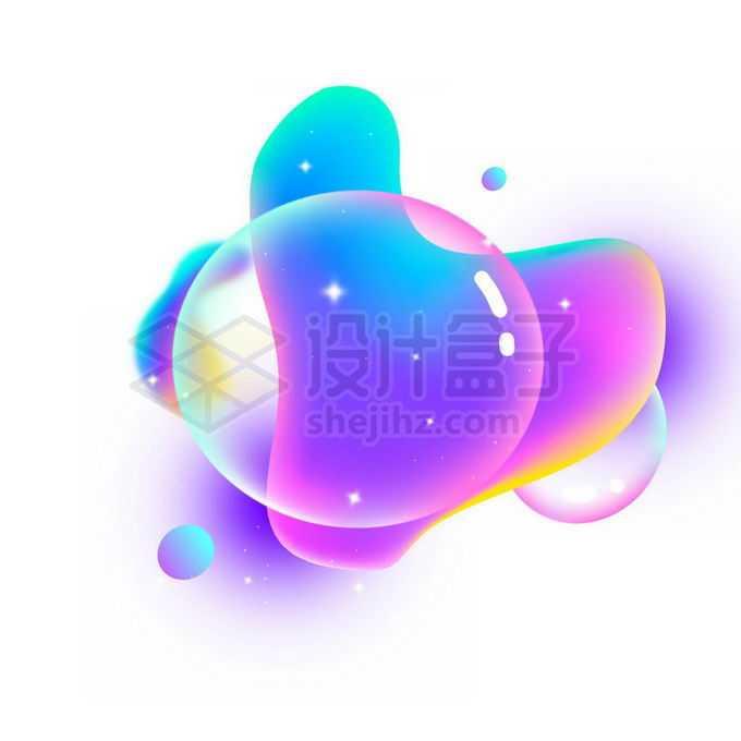 蓝紫色风格半透明多彩不规则形状渐变色气泡免抠图片素材