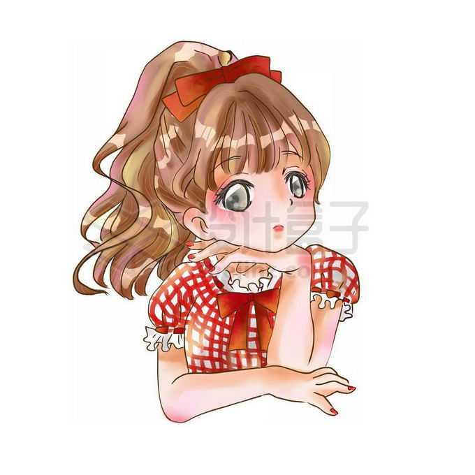 托腮的卡通小女孩手绘插画免抠图片素材