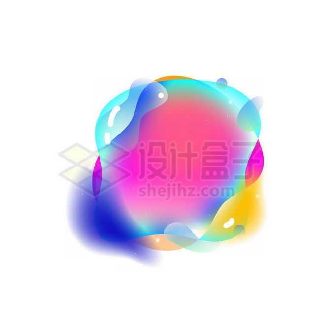 半透明多彩不规则形状渐变色气泡免抠图片素材