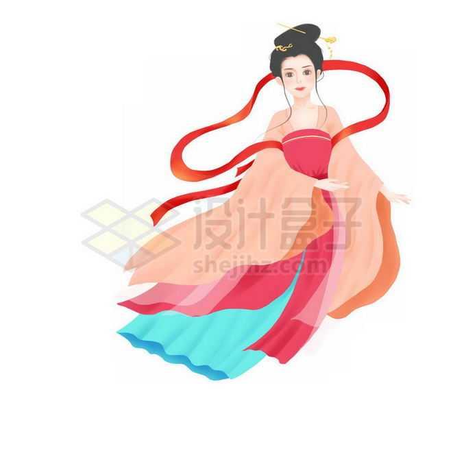 身穿红色衣服的古装少女小仙女免抠图片素材