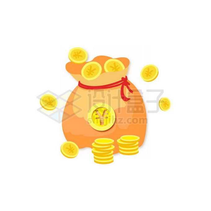 卡通钱袋子和金币免抠图片素材
